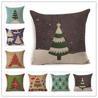 pinturas fundas de almohada al por mayor-Pinturas de color Cojín del árbol Funda Feliz Navidad Estilos Funda de almohada Ecológico No tóxico Funda de almohada de lino Decoración del hogar 7 5py ff