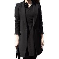 ingrosso il nero si adatta alle signore-All'ingrosso-Primavera Donna Slim Blazer Coat 2017 New Black Fashion Casual Jacket manica lunga One Button Suit Ladies Blazer Work Office Wear
