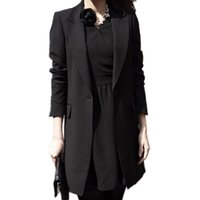 Wholesale ladies coat office wear - Wholesale-Spring Women Slim Blazer Coat 2017 New Black Fashion Casual Jacket Long Sleeve One Button Suit Ladies Blazers Work Office Wear