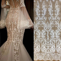 Wholesale gauze wedding dress - White French vintage fabric embroidery lace wedding dress gauze clothing decoration materials DIY accessories Lace fabric JZ01
