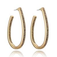 goldkreishaken großhandel-Neue Art und Weise modernes Gold überzogene Frauen-Kristallohr-Bolzen-Haken-Band-lange ovale Kreis-Ohrringe