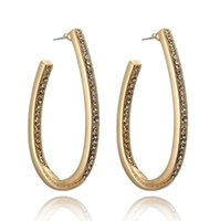 Wholesale oval tins - New Fashion Modern Gold Plated Women Crystal Ear Stud Hook Hoop Long Oval Circle Earrings
