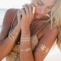 metallic tattoo jewelry venda por atacado-Hot Mulheres Homens Body Art Pintura Metálico Ouro Glitter Etiqueta Do Tatuagem Cadeia Pulseira Jóias Falso À Prova D 'Água Temporária Para Sexy Braço Olho Pescoço