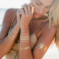 Wholesale metallic tattoo jewelry for sale - Hot Women Men Body Art Painting Gold Metallic Glitter Tattoo Sticker Chain Bracelet Fake Jewelry Waterproof Temporary For Sexy Arm Eye Neck