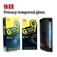Wholesale glare shield - For iphone x privacy 9H cellphone screen protector shield anti-spy tempered glass for iphone 6 7 8 Plus with 10 in 1 paper retail pack