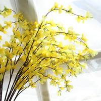 ingrosso orchidee di seta gialle-Stile rurale europeo Giallo seta Dancing Lady Orchid 104CM Fiori artificiali Fiore pavimento Matrimonio / decorazione della casa