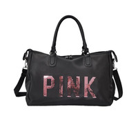 zapatos de nylon rosa al por mayor-2018 Lentejuelas PINK Impresión de la Carta de Las Mujeres Bolsa de Gimnasio Bolsa de Viaje de Fitness Al Aire Libre Espacio Separado Para Zapatos Sac Deportes Bolsa de las mujeres