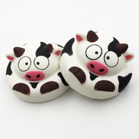 Wholesale Cartoon Cake For Kids - Cow Milk Cartoon Cake Squishy Slow Rising Scented Jumbo Phone Straps Charm Kids Gift Wholesale Educational Toys For Children