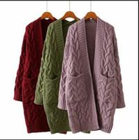 ingrosso cardigan donna a maglia lunga-Autunno Inverno Moda Donna manica lunga sciolto maglione cardigan a maglia da donna a maglia femminile oversize con tasche FS5796