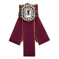gute hochzeitshemden großhandel-Neue leinwand Kristall Mosaik Bogen Broschen für Frauen Krawatte Brosche Hochzeit Kleid Hemd Brosche Handgemachte Accessoires Gutes Geschenk