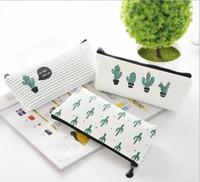 Wholesale old schools - creative cactus Pencil Case Purse canvas Portable Pen Money Wallet stripe zipper Pouch Pocket Keyring Gift Kawaii pencil Bag cute design