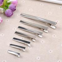 düz tutamak klipsleri toptan satış-Yeni 200 adet Yeni Gümüş Düz Metal Tek Prong Timsah Saç Klipler Pin Timsah Barrette Diy Tokalar 7 boyutu Hediyeler Için Craft Craft
