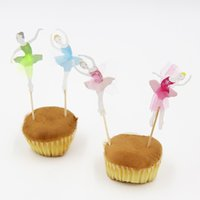 Wholesale fairy cup cakes - 8PCS Pretty Of Flying Fairy Cup Cake Topper Pick For Princess Birthday Party Decoration And Event Party Decoration Supplies