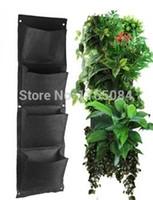 ingrosso giardino di piante interne-Novità 4 tasche verticale Garden Planter Poliestere a parete Home Gardening Flower Planting Borse Living Indoor Wall Planter