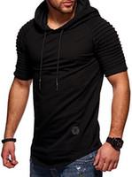 zíperes do t-shirt dos homens venda por atacado-Homens plissados Com Capuz Verão T Shirt Hipster Hip Hop T Camisa Dos Homens Longline Zipper Camisas de Manga Curta T-shirt Dos Homens hoodies com capuz