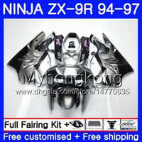 95 zx 9r verkleidungen großhandel-Karosserie für KAWASAKI NINJA ZX900 ZX9R 94 95 96 97 221HM.18 ZX 9R 94 97 ZX 9 R 900 900CC ZX-9R Silbrig schwarz heiß 1994 1995 1996 Verkleidungskit