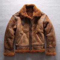 кожаная куртка с меховой подкладкой оптовых-Коричневый AVIREXFLY натуральная кожа куртки ягненка меховой воротник B3 полета ягненка меховая подкладка кожаная куртка двойное лицо меха