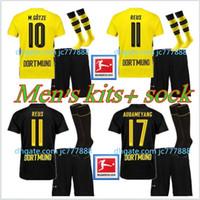 Wholesale green football socks - Top quality Borussia Jersey 17 18 Men Soccer Jersey Kits + Sock 2017 2018 AUBAMEYANG GOTZE MOR KAGAWA REUS SAHIN adult football jerseys
