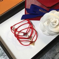 Wholesale Red Rhombus - Famous brand name Top quality bracelet with lucky rhombus pendant and rope for women and man jewelry gift free shipping PS6278