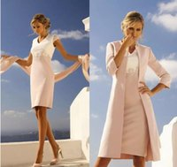 mütevazı dantel ceket düğün toptan satış-Ile Modest Dantel Aplike Anne Gelin Elbiseler Ceket Cap Kollu V Boyun Düğün Konuk Elbise Diz Boyu Artı Boyutu Örgün Önlükler