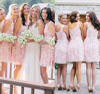 Wholesale Country Lovely - 2018 Summer Spring Lovely Bridesmaid Dress Pink Country Beach Garden Plus Size Custom Made Formal Wedding Party Guest Maid of Honor Gowns