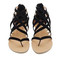 34 tamanho sapato roma venda por atacado-Moda Plus Size 34-43 Apartamentos Sandálias das Mulheres de Verão 2017 Nova Moda Sapatos Casuais para a Mulher Europeia Estilo Roma Sandalias