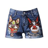 gestickte hundeflecken groihandel-Beiläufige Fuuny Hundemuster-große gestickte Denim-Kurzschlüsse Designer-Karikatur bessert die Jeans der Frauen für Sommer aus