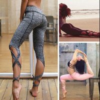 Wholesale cropped tight yoga pants for sale - Women Bandage Elastic Yoga Pants Fitness Sport Leggings Cross Leggins Dance Running Tight Cropped Pant Sportswear KKA4530