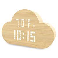 cargador de voz al por mayor-Reloj electrónico silencioso Reloj de alarma inteligente LED Control de voz Dormitorio Nube Reloj con cargador Tiempo / temperatura / humedad
