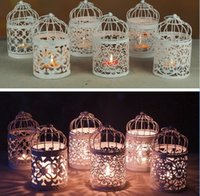 Wholesale invitations maker resale online - 6 style Romantic Hollow Hanging Bird Cage Candle Holder Candlestick Lantern wedding hotel bar decorative lights Home dinner Planter Decor
