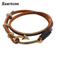 украшения для рыболовных крючков оптовых-Vintage Fish Hook Leather Mens Bracelets 2018 Women Long Bracelet Male Wristband Braslet Femme  Jewelry Accessories Bijoux