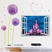 Wholesale wallpaper room for sale resale online - 3D False Window Wallpaper Castle Living Room Background Wall Stickers Waterproof Removable Poster Home Decor Hot Sale ly Ww
