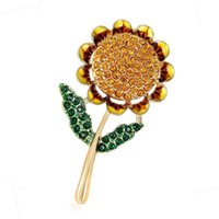 Wholesale leaf brooch pins gold for sale - Group buy Energetic Yellow Flower Green Leaf Enamel Badges Sunflower Pin Brooches Gold Plated