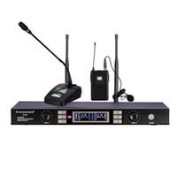 micrófono inalámbrico de karaoke de solapa al por mayor-Precio de fábrica 2 canales UHF Exterior Ampliamente compatible Handheld Wireless Karaoke Micrófonos Altavoces y Lavalier Lapel mic