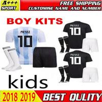 Wholesale black half socks - 2018 world cup Argentina soccer Jersey Kids Kit 2018 Argentina home away Soccer Jerseys MESSI Child Soccer Shirts uniform jersey+socks