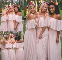 ingrosso abiti junior bohemien-2018 modest chiffon rosa abiti da damigella d'onore spiaggia junior damigella d'onore abito bohemien formale festa nuziale abiti da ospite su misura