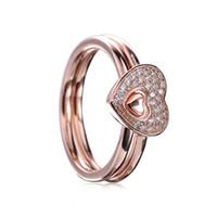 sobre o coração venda por atacado-18CT Rose banhado a ouro sobre 925 Sterling Silver cintilante enigma coração anel Fit Pandora charme jóias de noivado casamento amantes moda anel