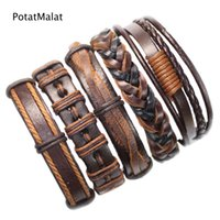 Wholesale china tribal for sale - cool bangles ethnic tribal genuine adjustable leather bracelet for men WT17