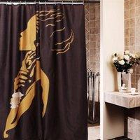 ingrosso cartone della tenda della doccia-La tenda impermeabile della doccia del bagno della donna africana del fumetto 168x183cm regalo della decorazione del bagno