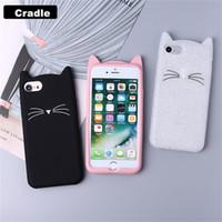 Wholesale cute 3d note case online - Cute D Silicone Cartoon Cat Pink Black Glitter Soft Phone Case Cover For Iphone X XR XS MAX Plus