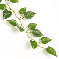 plastic foliage plants achat en gros de-2 m Artificielle Lierre Feuille Guirlande Plantes Vigne Faux Feuillage Fleurs Home Decor En Plastique Fleur Artificielle Rotin À Feuilles Persistantes Cirrus