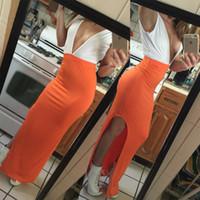 más el vestido de playa de color naranja al por mayor-Tallas grandes Ropa para mujer Vestido de fiesta con escote en V Sexy Split White Orange Beach Vestido largo de verano Stely
