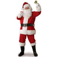 disfraces de papá noel al por mayor-Adulto traje de traje de Papá Noel de felpa padre ropa elegante de Navidad Cosplay Props hombres abrigo pantalones barba cinturón sombrero de Navidad conjunto 8J0695