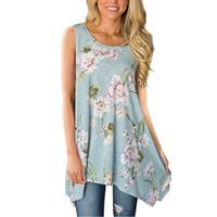 асимметричная рубашка для подол оптовых-Women T-Shirt Floral Printed Summer Tops Shirts Hem O Neck Asymmetrical Tunic Loose Sleeveless Tshirts Blusas Feminina A4