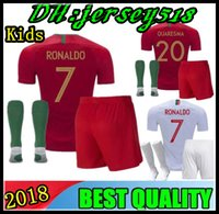 Wholesale national children - 2018 World Cup Portugal soccer Jersey home Portugal kids Jerseys 18 19 away Silva ronaldo nani national team child football jersey shirts