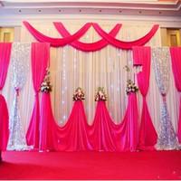 saten düğün zeminler toptan satış-Yeni Arka Plan Saten Perde Avrupa Tarzı Düğün Parti Sahne Dekorasyon Prop Üçüz Sequins Klasik Iplik Tavan Zemin 435 mw Ww