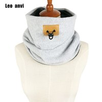 Wholesale Men Color Winter Type - Leo anvi 2018 ring scarf men solid color Double fashion warm scarf winter cotton type New designer Drawstring tube scarves&wraps