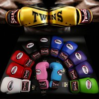 Wholesale men boxing gear for sale - 8oz oz Red twins boxing gloves adult playing sandbags parry that men and women fight training sanda muay Thai boxing gloves