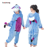 ingrosso baby kigurumi animale-Kids Girls Kigurumi Panda Salopette Tuta Bambini Animal Unicorn Pigiama Tutina Cosplay Ragazzi Baby Sleepwear Sleepers