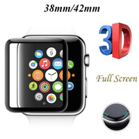 reloj de pantalla negro al por mayor-3D Full Screen Premium Film Protector de pantalla de cristal templado de la cubierta protectora para Apple Watch Iwatch 38mm 42mm Negro